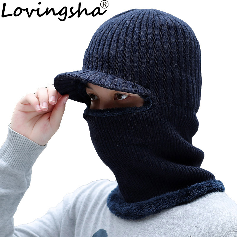 LOVINGSHA Balaclava Men Knitted Hat Scarf Cap Neck Warmer Mask Winter Hats For Women Skullies Beanies Warm Fleece Cap HT088