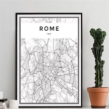 Rome London Map Wall Art Canvas Schilderij New York Nordic Poster Tokyo Muur Foto 'S Voor Woonkamer New York Thuis decor Unframed(China)