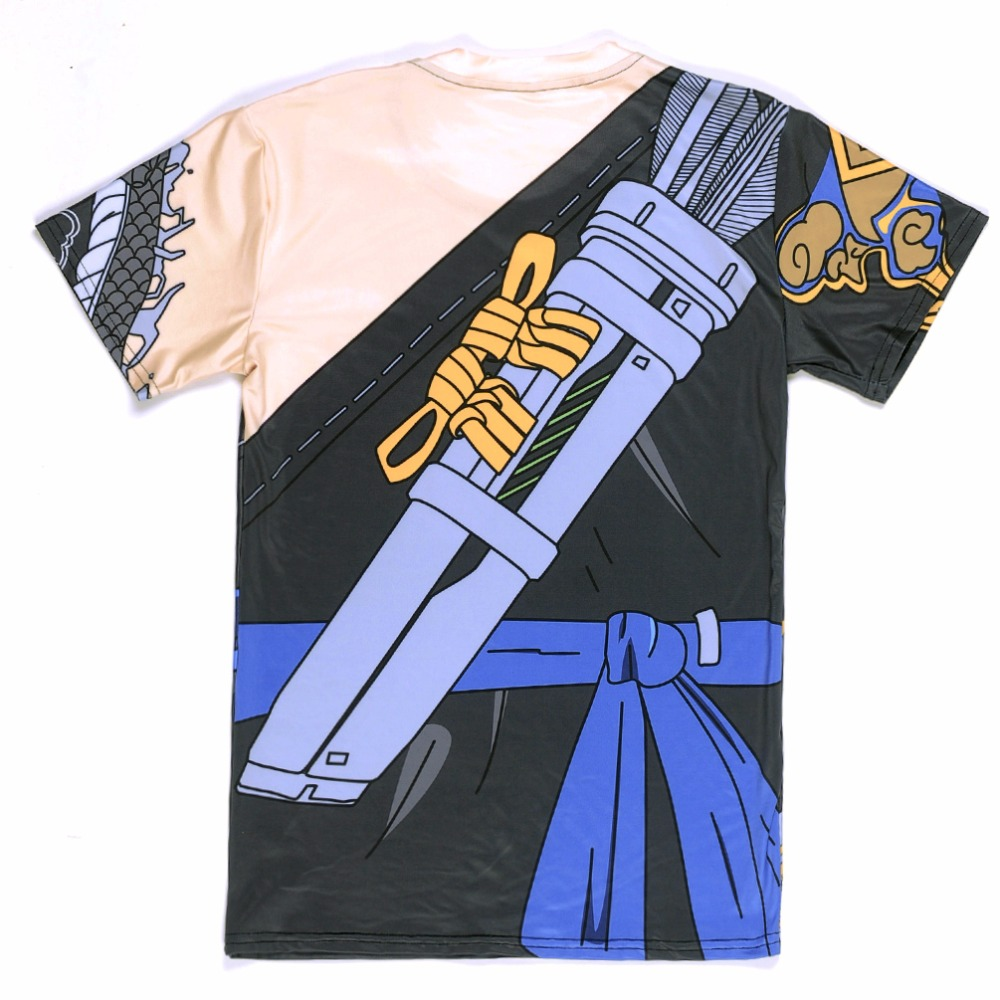 New 2017 Summer 0058 Blizzard Dragon Hanzo Junkrat Cosplay Zipper Prints Quick-dry Fitness Short Sleeve Mens T-shirt Men Tees