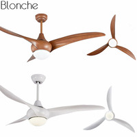52 inch LED Modern Ceiling Fans with Light Remote Control Wood Dining Room Living Room Fan Lamp Home Lighting Fixtures AC 220V