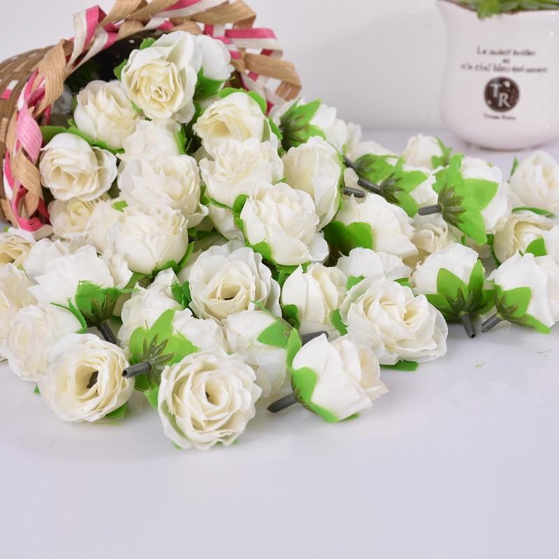 50 Unids Mini Rose Cabeza de Flor Artificial de Flores Juegos Olímpicos Del Banq
