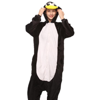 Women Adult Penguin Onesie Funny Animal Cartoon Pajamas Party Jumpsuit Winter Black Warm Sleepwear Fashion Cute