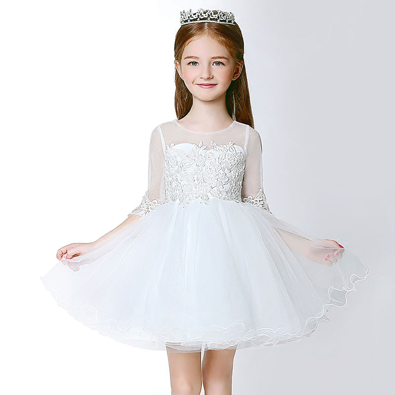 ФОТО royal ball gown princess dress 2016 new girls dress hollow-out lace sleeve appliques girls pageant dress for costume wedding