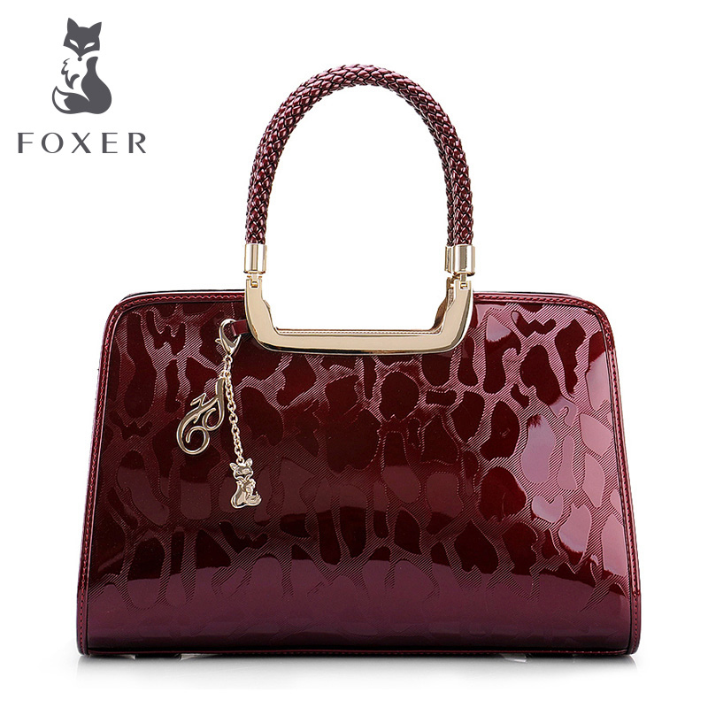 Foxer Brand Women Cow Patent Leather Shoulder Bag Women's Luxury Tote Handbags