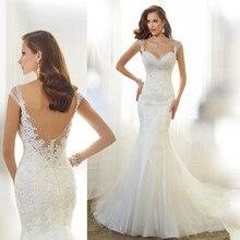 Amazing Lace Wedding Dress Sweetheart Sleeveless Sexy Backless Beaded Mermaid Dresses Vintage 2015 M73