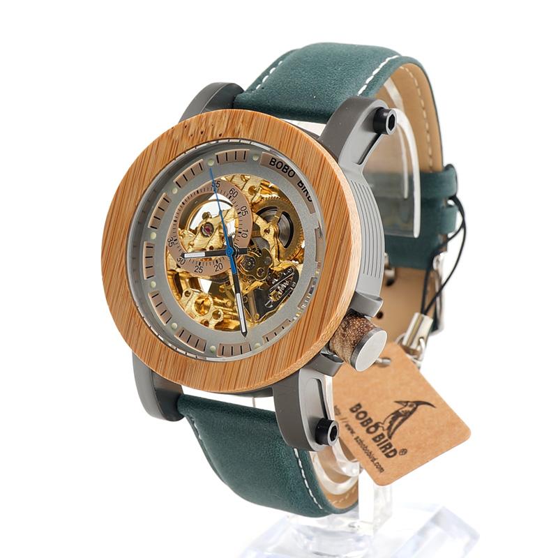 Prix pour Bobo bird k13 bambou & acier mechanica montre vintage bronze squelette horloge mâle antique steampunk casual automatique marine bande homme
