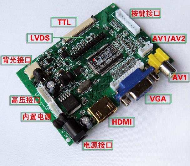 Free Shipping! 1pc HDMI VGA 2AV video driver board LVDS 7-inch 8-inch 50P  car flat-panel LCD reversing priority
