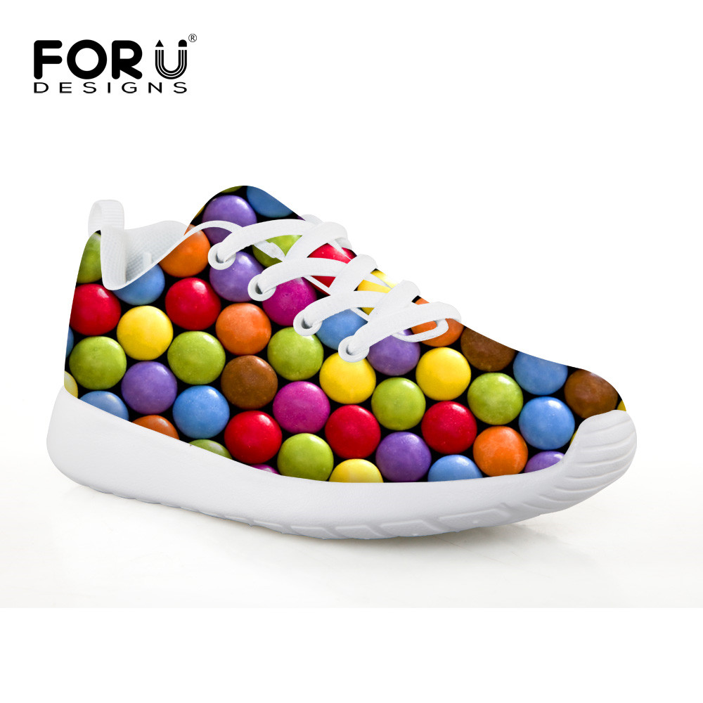 ФОТО FORUDESIGNS Candy Color Printing Sport Shoes Boys and Girls Ventilation Run Shock Absorption Children's Tennis Shoes for School