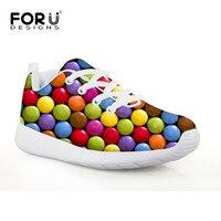 FORUDESIGNS Impresión Del Color Del Caramelo Zapatos de Deporte Los Niños y Niñas de Ventilación Correr la Absorción de Choque Zapatos Tenis de Los Niños para La Escuela
