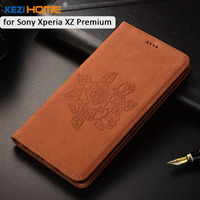 For Sony Xperia XZ Premium Case KEZiHOME Matte Genuine Leather Flower Printing Flip Stand Leather Cover