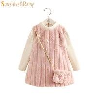 Elegant Princess Dress For Girls Faux Fur Dress With Bag Beading Long Sleeve Velvet Kids Winter