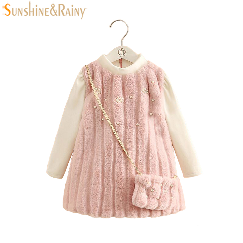 Elegant Princess Dress For Girls Faux Fur Dress With Bag Beading Long Sleeve Velvet Kids Winter Dresses For Baby Girls Clothing