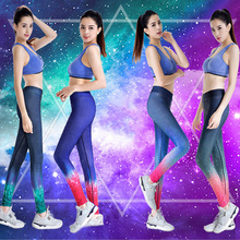 YD New Women Sport Yoga Set Gym Running Sport Suit Sport Top Push Up Bras Printed Leggings Fitness Tight Suit For Women