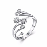 100 Sterling Silver Ring With Stone 925 Jewelry Cubic Zirconia Rings For Women Bijoux Femme Marque