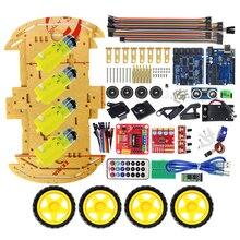 Multifunktions Bluetooth Gesteuert Robot Smart Car Kits Tonnen Veröffentlicht freies Codes 4WD UNO R3 Starter Kit für arduino Diy Kit
