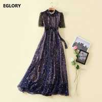 New 2018 Spring Celebrity Inspired Fashion Women Long Dress Ladies Elegants Floral Print Peter Pan Collar