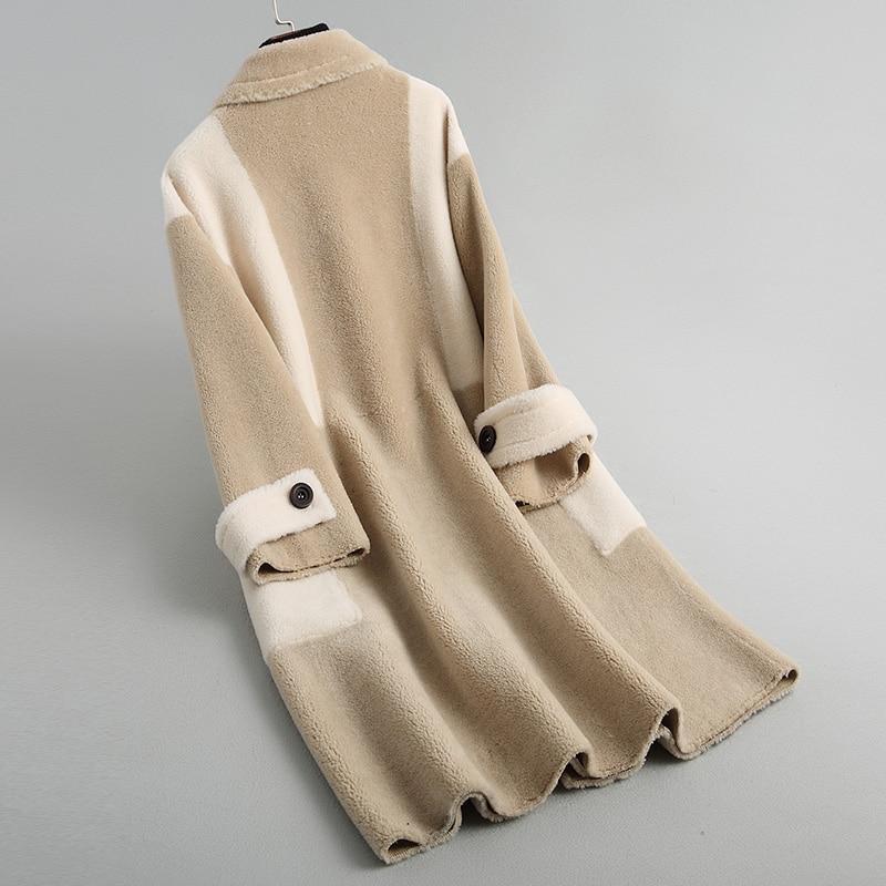 Femmes Doublure Z281 Long Fourrure Haute Cuir Vestes En Qualité Camel Veste Manteau Manteaux Laine Femelle Outwear De Hiver Et Véritable Moutons Daim Owqxp5AxR