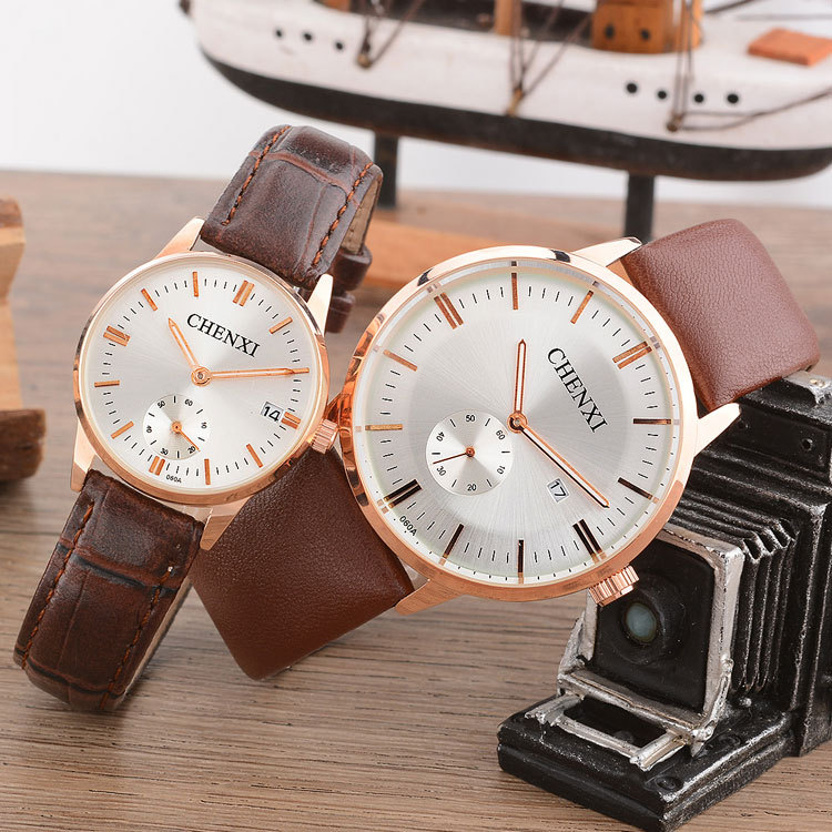 Chenxi Brand Quartz Lovers Watches Women Men Couple Dress Leather Calendar Wristwatches Fashion Casual Rose Gold Circle 060A