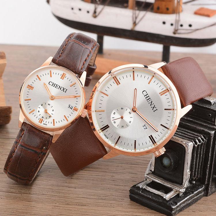 Chenxi Brand Quartz Lovers Watches Women Men Couple Dress Leather Calendar Wristwatches Fashion Casual Rose Gold Circle 060A