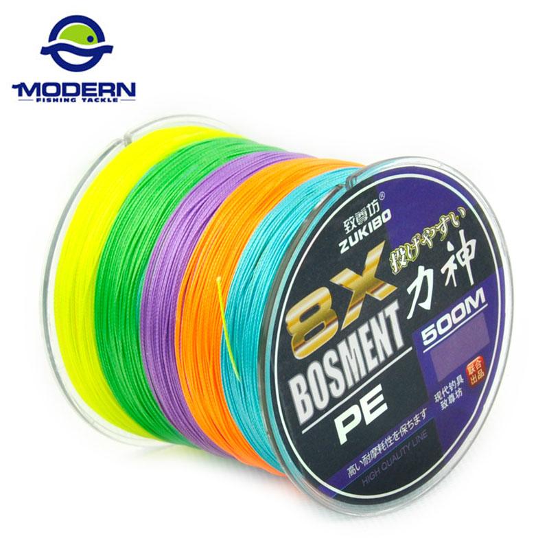 Prix pour 500 M 8 brins Moderne De Pêche Marque BOSMENT Japon Multifilament PE tressé ligne de pêche boîte en plastique packing10 à 100LB