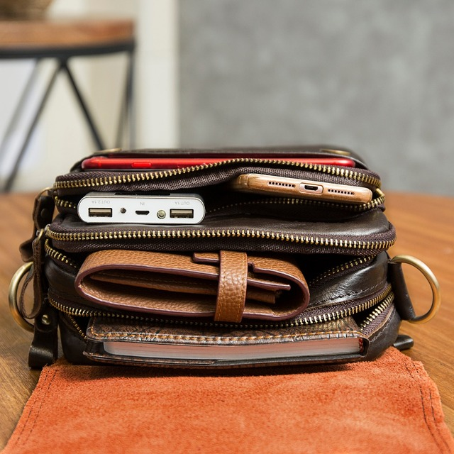 """Qualidade de couro original masculino casual ombro messenger bag moda cruz-corpo saco 8 """"almofada tote mochila saco 144 5"""