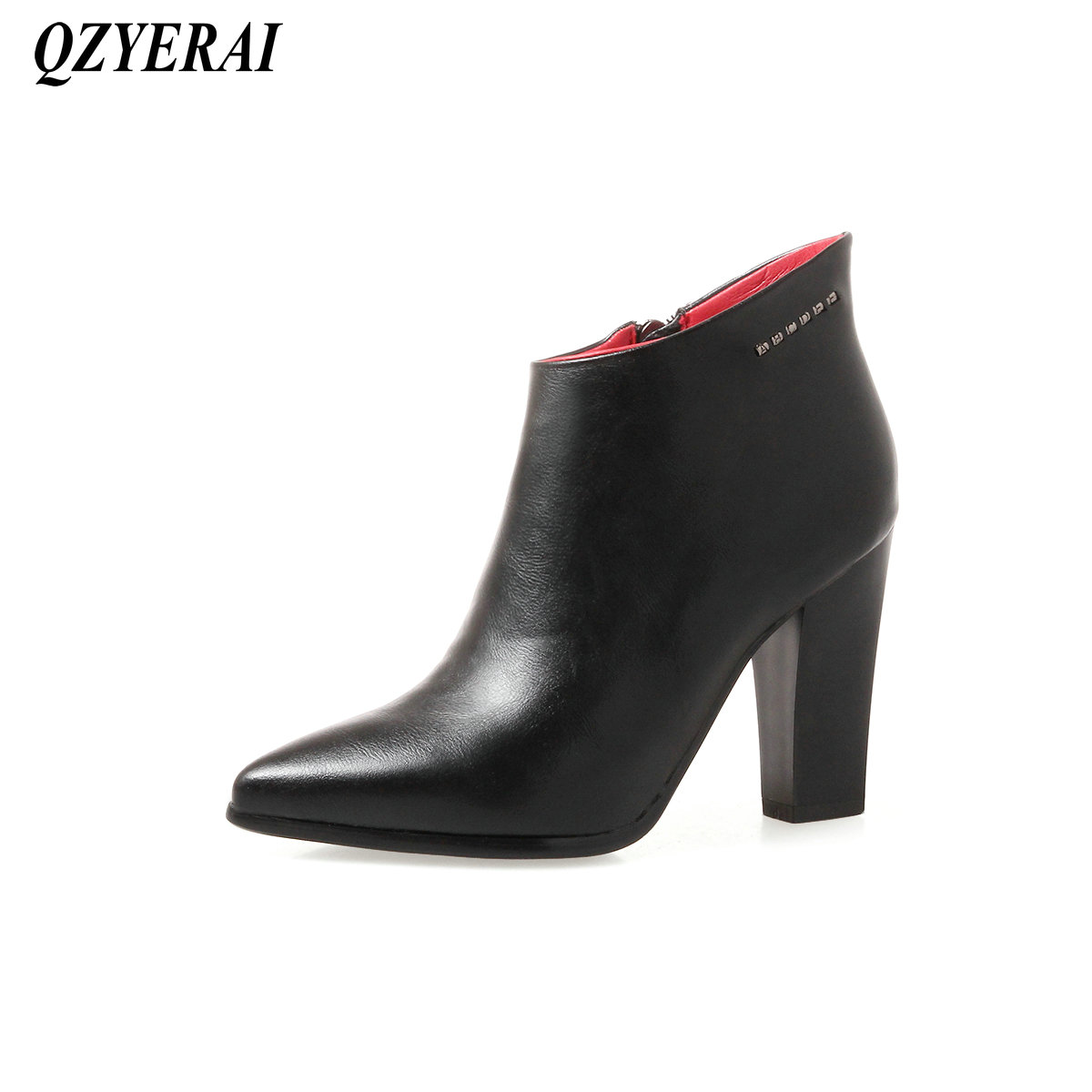 QZYERAI Winter pointy shallow fashionable lady short boots patent leather font b womens b font font