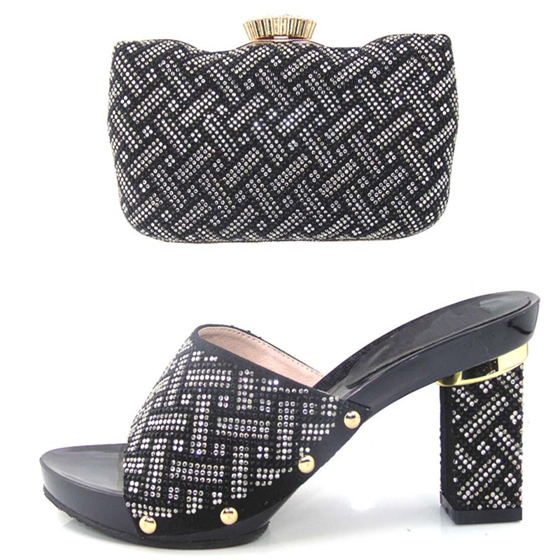 ФОТО 2017 New Fashion Italian Shoes With Matching Bags For Party African Shoes And Bags Set for Wedding Shoe And Bag Set TYS17-34