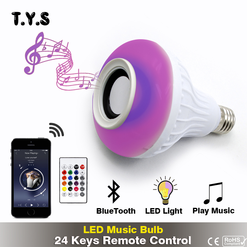 NEW RGB Smart RGBW Wireless Bluetooth Speaker Bulb Music Playing Dimmable E27 LED Bulb Light Lamp With 24 Keys Remote Control
