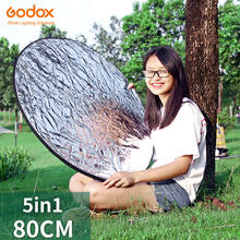 """Godox 32"""" 80cm 5 in 1 Silver Gold Portable Collapsible Light Round Photography Photo Reflector for Studio"""