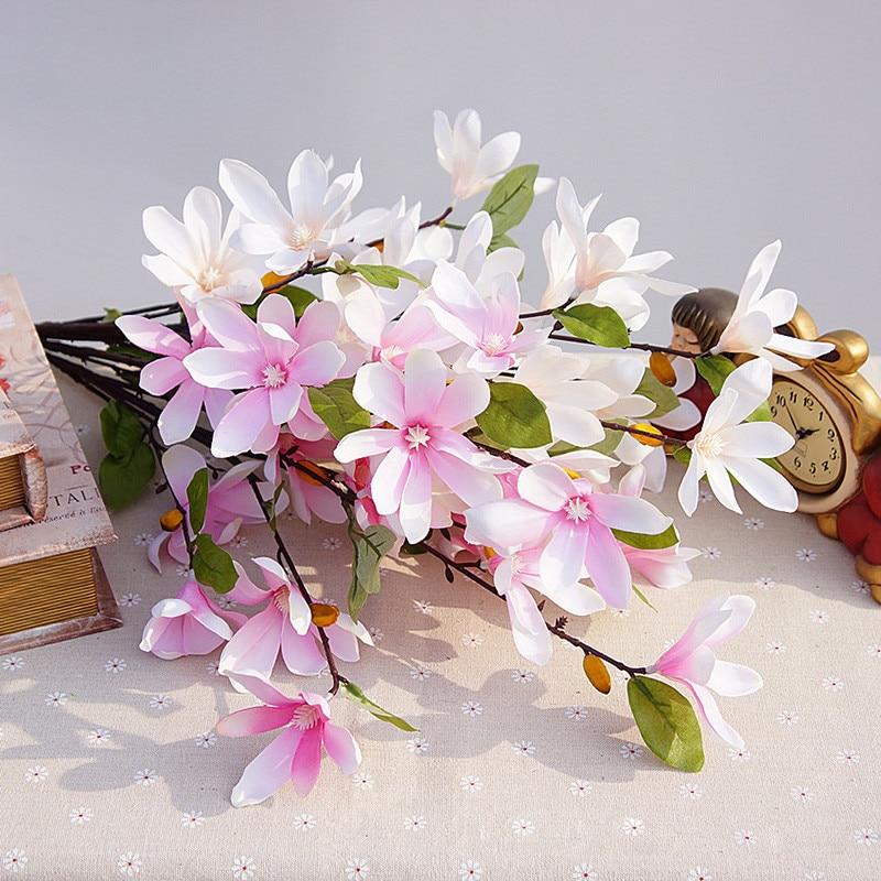 Umělé hedvábí Magnolia Fake Květina Fleur Artificielle Svatební Domů Decor Party příslušenství Flores decoracion para bodas