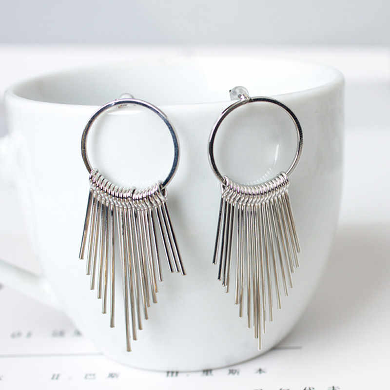 Stylish Vintage Stainless Steel Earrings for Women Jewelry Bright Tassel Earrings Ancient Flower Earrings Hanging Brincos