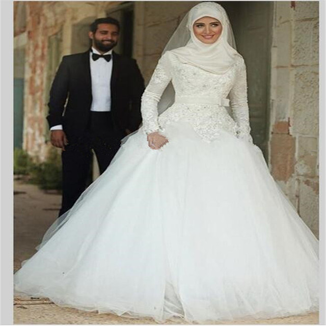 Vestido Noiva Muslim Wedding Dress Hijab 2016 Long Sleeves Arabic Gown Satin Ball WEdding