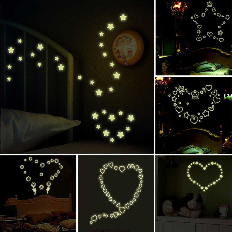 Love quotes luminous stickers glow in the dark stars for Luminous bedroom