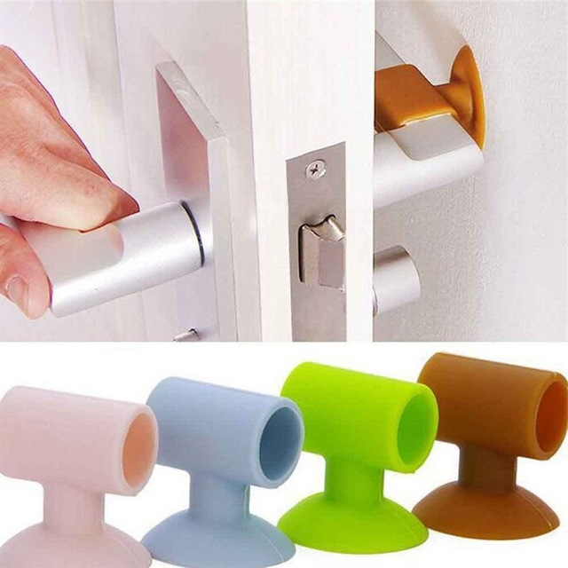1PCS Baby Safety Door Knob Silencer Crash Pad Wall Protectors Silicone Door Stopper Anti Collision Stop Products 4 Colors