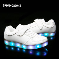 Boys girls Childredn LED Shoes colorful lights up shoes USB charging casual luminous shoes for children cute kawawii white pink