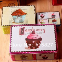 NEW Free Shipping 3pcs Set Big Size Recentage Shape Metal Tin Case Sweety Candy Can Cookie