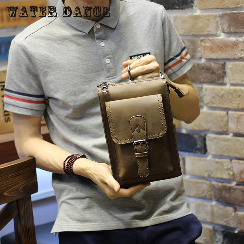2017 New Style Restoring Ancient Ways Crazy Horse Leather Men Bags Wallets Feature Phones Package Inclined