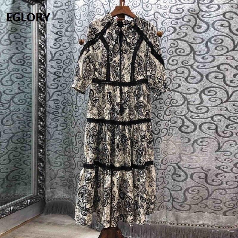2019 été mode Vintage robe de haute qualité femmes Chic imprimé dentelle Patchwork 3/4 manches mi-mollet décontracté robe d'été Boho