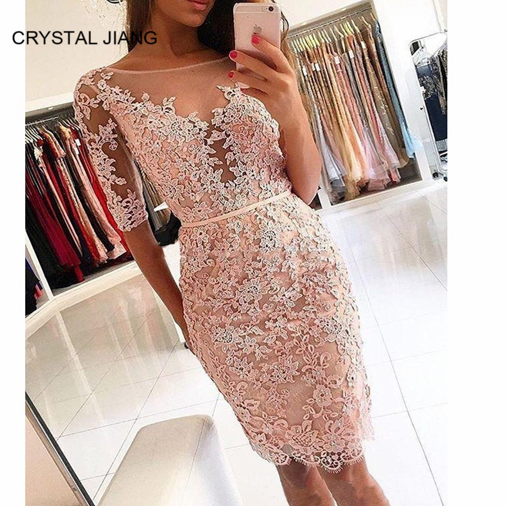 Hot Sale 2019 Scoop Collar Lace Applique Custom made Half Sleeves Beaded Knee Length Fashion Pink   Cocktail     Dresses