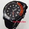 Парниш 42 мм 10ATM Miyota автоматические мужские часы с черным циферблатом  светящимся сапфировым стеклом  резиновый ремешок 408