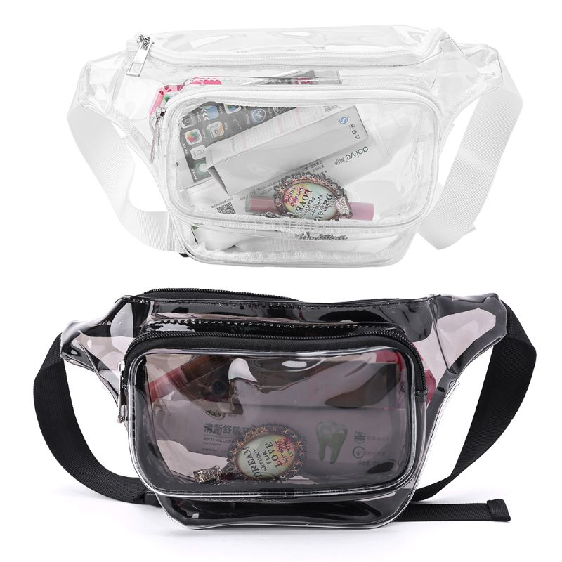Transparent PVC Phone Pouch Purse Women Waist Bag Fanny Hip Pack Chest Travel Clear Wallet Women Girls