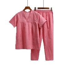 Недавно v-образным вырезом Пижамные комплекты короткий рукав пара Ванны одежда Дышащие пара пижамы пару Услуги Костюмы