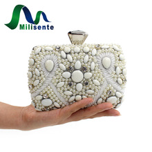 Heißer Verkauf Mode Frauen Elegante Perlen Designer Tag Clutch Box Handtaschen Hochzeit Geldbörse Abendtaschen für Party Weiße Dame