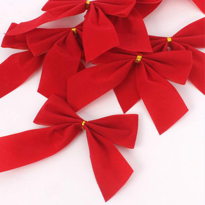 12 pcs christmas tree red christmas bow bows outdoor decorations new year in christmas bows from home garden on aliexpresscom alibaba group - Red Christmas Bows