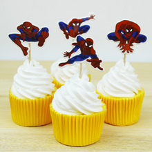 24 Pieces/lot Cartoon Super Heros Fashion Cute Creative Spider-Man kids party Birthday decoration Cake Toppers Accessory