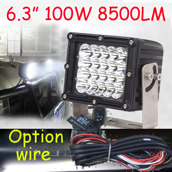 Free DHL/UPS Ship,6.3 100W 8500LM 10~30V,6500K,LED working light;Free ship!Optiona wire;motorcycle light,forklift,tractor light dhl free 100