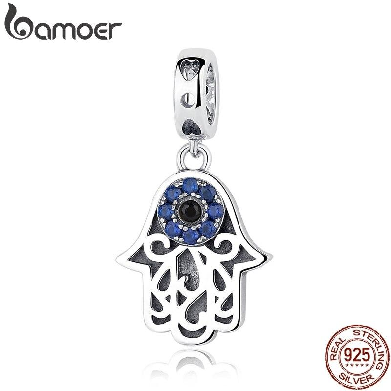 Bamoer eye design série 100% 925 prata esterlina azul ímpio olho pingente apto pulseiras & pulseiras moda jóias scc085