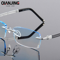 QJ Rhinestone Eyeglass Frames Titanium Men Prescription Glasses Ti High Clear Lens for Myopic Presbyopic Computer Spectacles