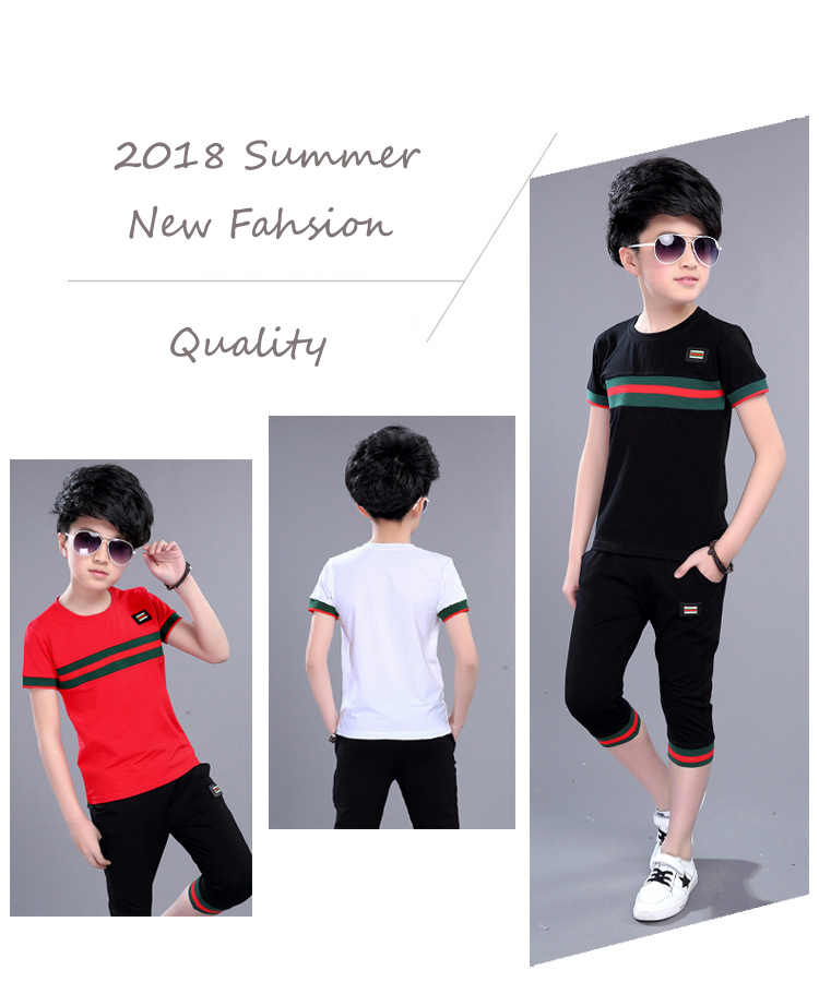 00b7cfca8fd1 ... 2PCS boy summer set 2019 New Fashion 3 to 15Years Old Kids Clothes Boy  Clothing Set ...