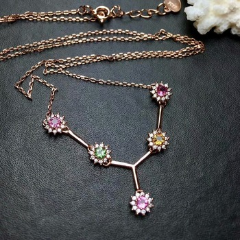 shilovem 925 sterling silver real Natural tourmaline pendants fine Jewelry send necklace new women trendy wedding mlp0303068agx